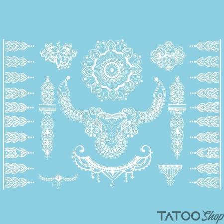 Tatouage ephemere mandale henné blanc