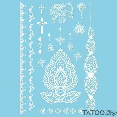 Tatouage ephemere henné blanc fleur de lotus