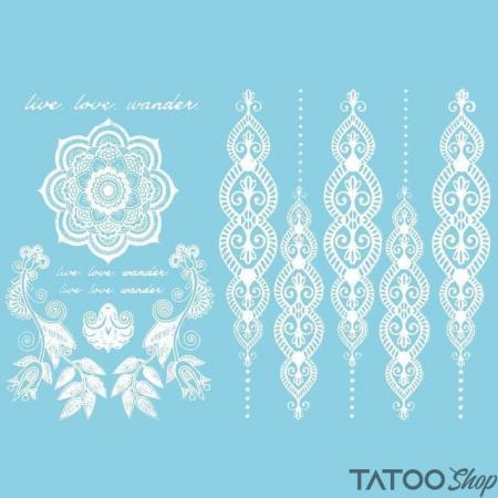 Tatouage ephemere motif mandala et henné blanc
