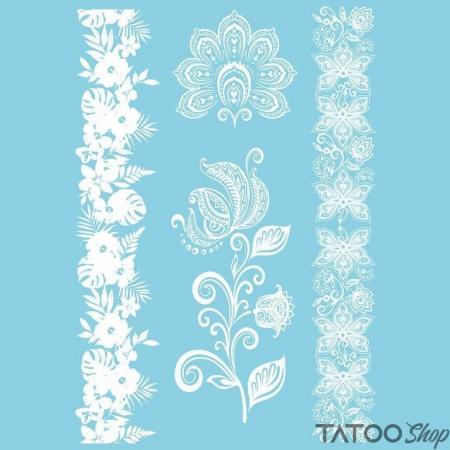 Tatouage ephemere fleur henné blanc