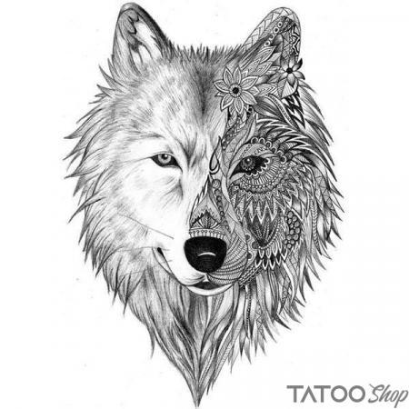 Tatouage ephemere loup mandala d'hiver