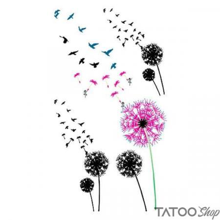 Tatouage ephemere fleurs de pissenlit avec oiseaux