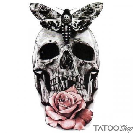 Tatouage ephemere tête de mort & rose