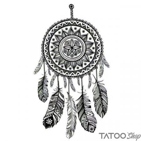 Tatouage ephemere attrape rêve noir