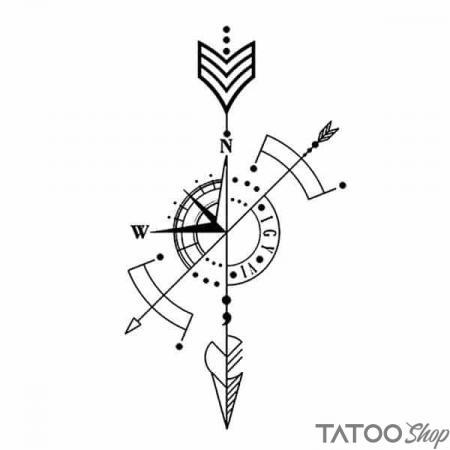 Tatouage ephemere boussole et flèche