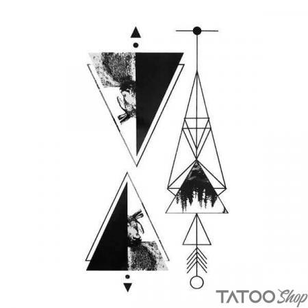 Tatouage ephemere triangles géométrique