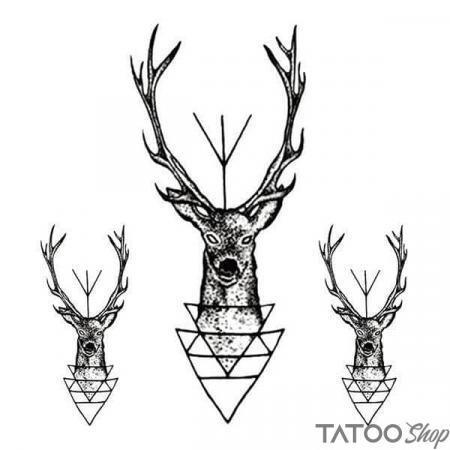 Tatouage ephemere cerf géométrique