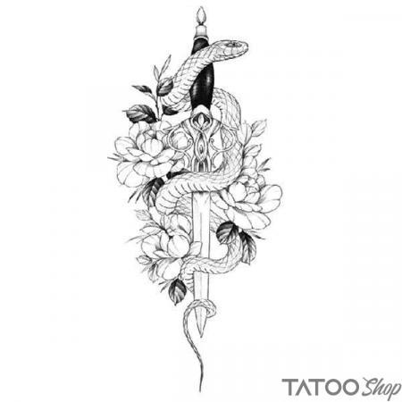 Tatouage ephemere dague de serpent