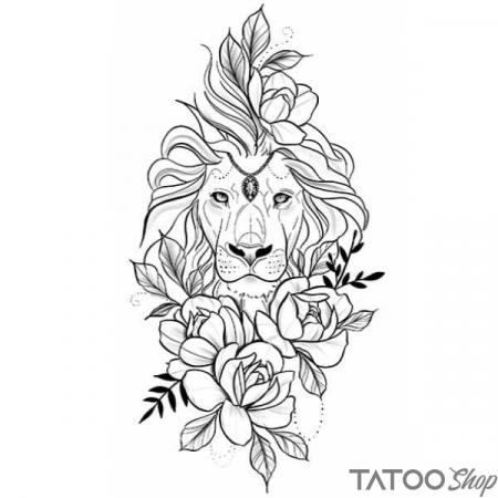 Tatouage ephemere lion & fleur