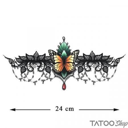 Tatouage ephemere underboob papillon en dentelle