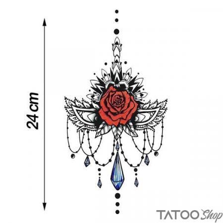 Tatouage ephemere rose et bijoux underboob