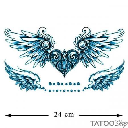 Tatouage ephemere poitrine ailes d'amour bleu