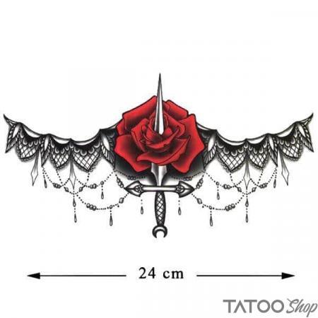 Tatouage ephemere rose et dentelle