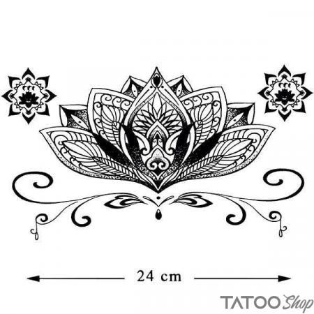 Tatouage ephemere fleur de lotus mandala underboob