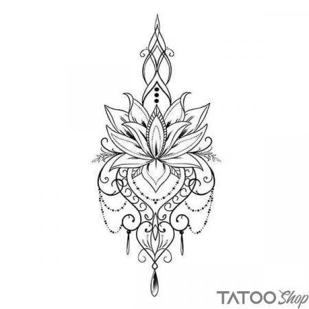 Tatouage ephemere bijoux et fleur de lotus underboob