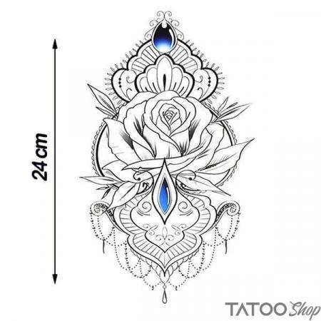 Tatouage ephemere poitrine fleur oriental
