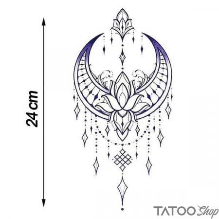 Tatouage ephemere underboob lune et fleur de lotus