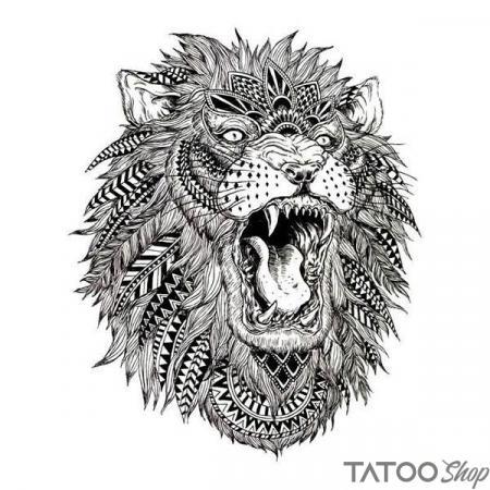 Tatouage ephemere lion tribal rugissant