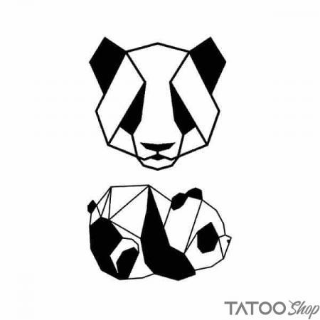 Tatouage ephemere petit panda géométrique