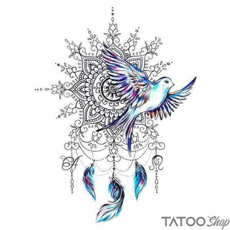 Tatouage ephemere oiseau et mandale attrape rêve