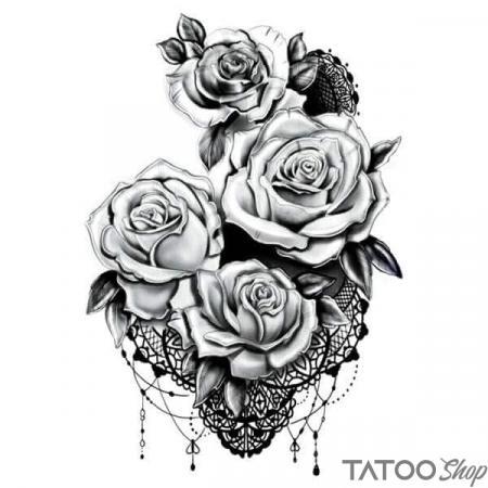 Tatouage ephemere rose en dentelle