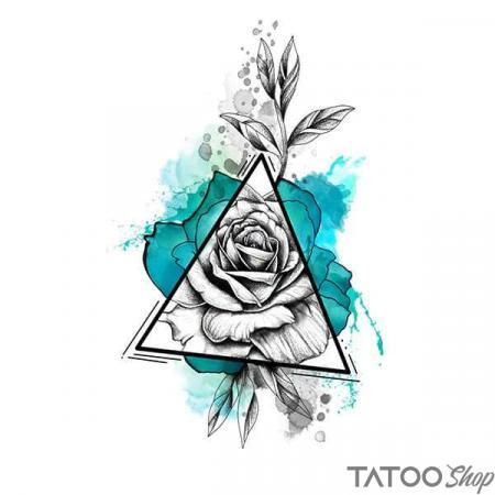 Tatouage ephemere fleur et triangle