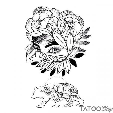 Tatouage ephemere visage fleuris