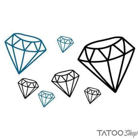 Tatouage ephemere diamant noir & bleu