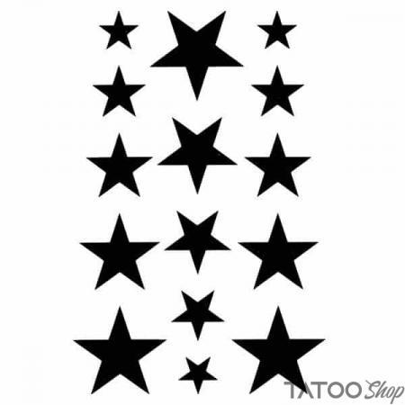 Tatouage ephemere petits étoiles noir