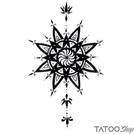 Tatouage ephemere mandala noir