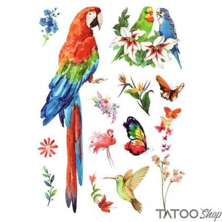 Tatouage ephemere oiseaux, fleurs et papillons