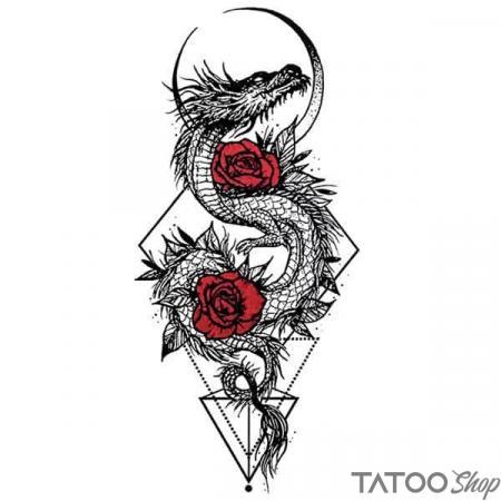 Tatouage ephemere dragon geometrique