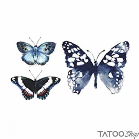 Tatouage ephemere petits papillons bleus