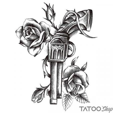 Tatouage ephemere fleurs et gun