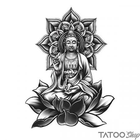 Tatouage ephemere mandala et bouddha fleur de lotus