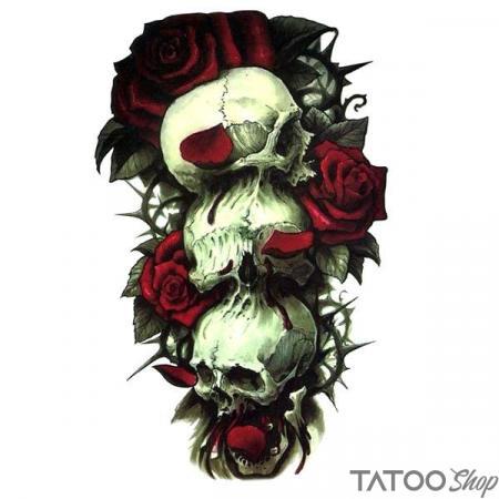 Tatouage ephemere tête de mort et et rose rouge