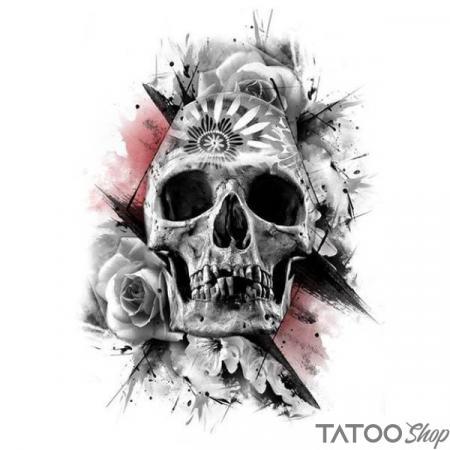 Tatouage ephemere tête de mort et rose blanche