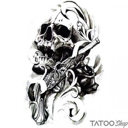 Tatouage ephemere tête de mort et pistolet