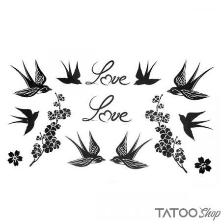 Tatouage ephemere oiseaux d'amour et fleurs