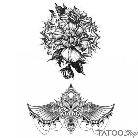 Tatouage ephemere underboob hiboux et lotus mandala