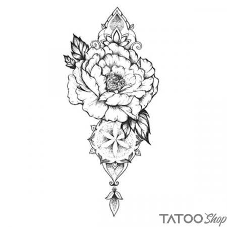 Tatouage ephemere fleur de pivoine N & B