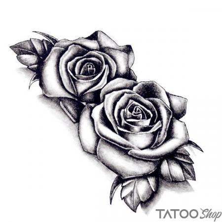 Tatouage ephemere dessin rose en noir