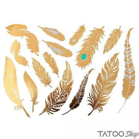 Tatouage ephemere plumes dorés