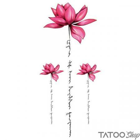 Tatouage ephemere message et fleurs