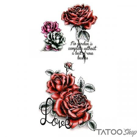 Tatouage ephemere rose rouge et message