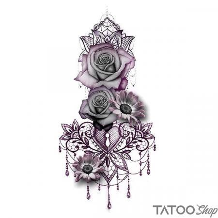 Tatouage ephemere rose violette en dentelle