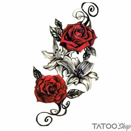 Tatouage ephemere roses rouge
